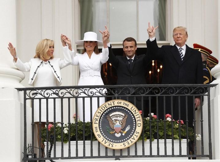 Trump e Macron plantam árvore e preparam reuniões bilaterais