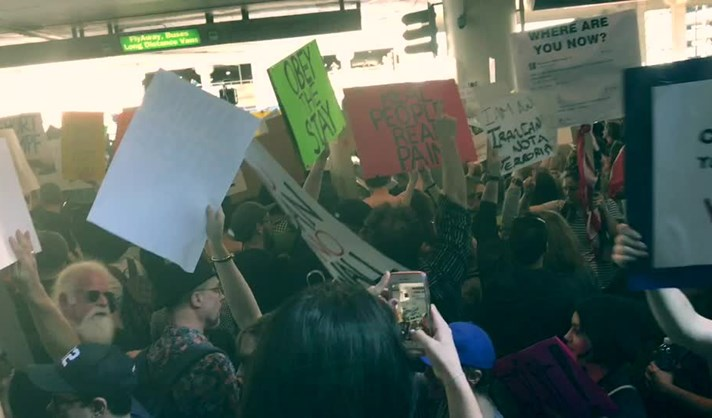 Protesto no aeroporto JFK
